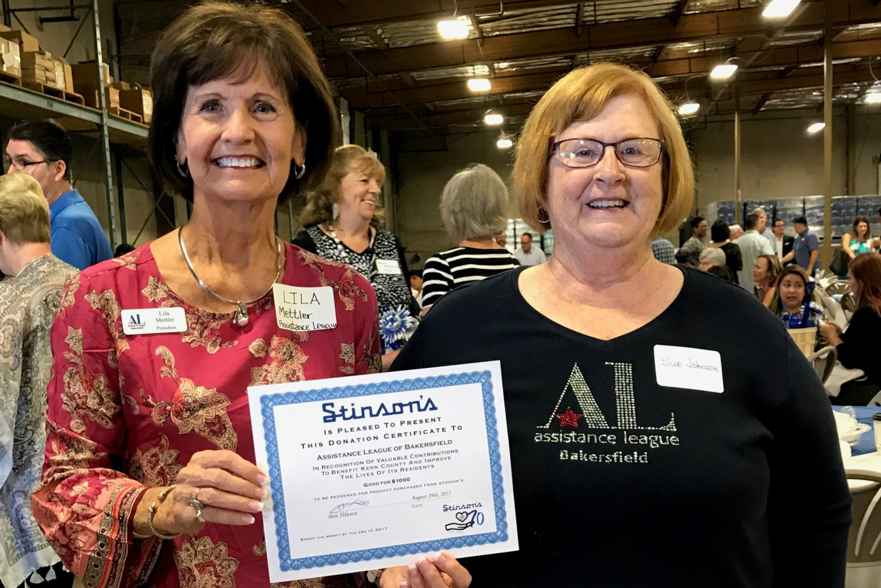 Assistance League receives $1000 grant from Stinsons  | Assistance