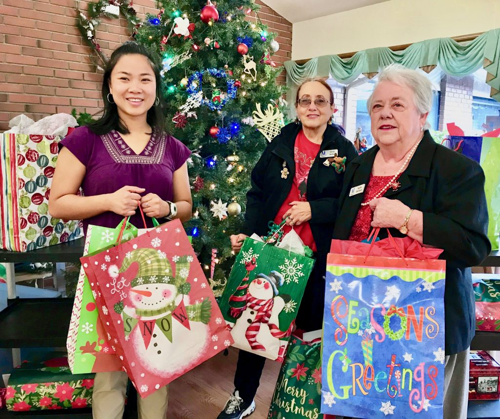 Remembering residents in care centers with Christmas gifts.