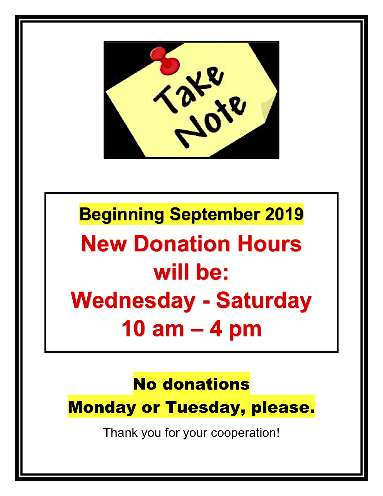 Donation Hours Sept 2019, Wed-Sat 10 am - 5 pm