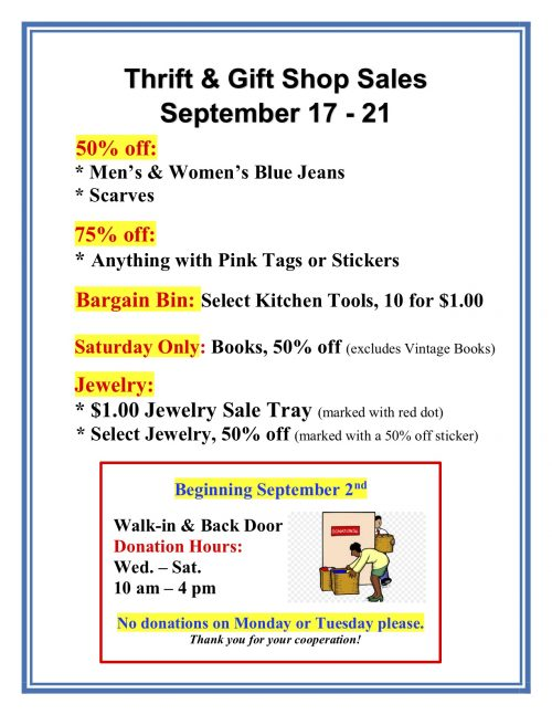 Weekly Sales Shop Sign Sept 17 - 21