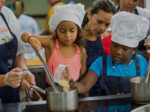 kids cooking food with organic beans