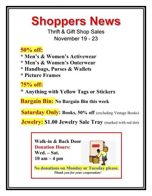 Weekly Thrift Shop Sales Nov. 19-23