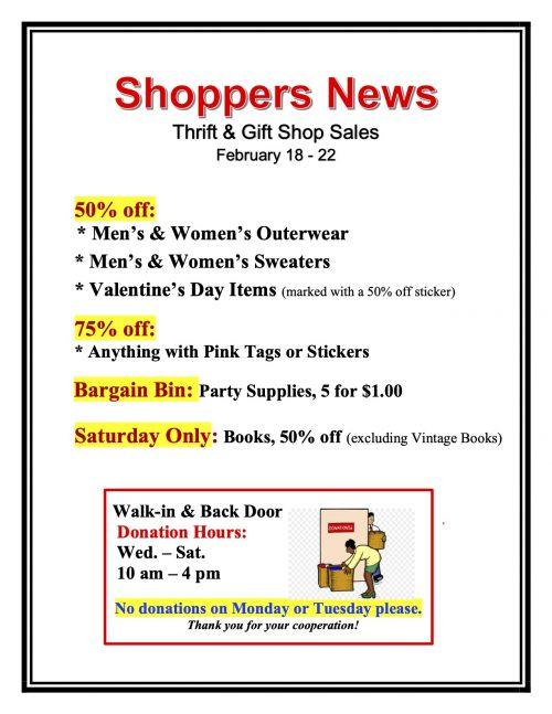 Thrift & Gift Shop Sales Feb. 18-22
