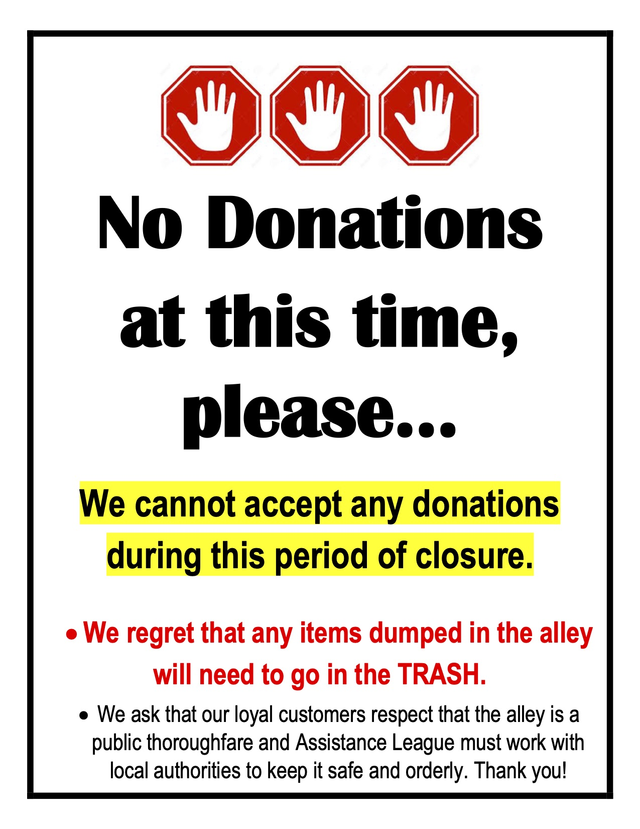 Thrift & Gift Shop unable to accept Donations at this time