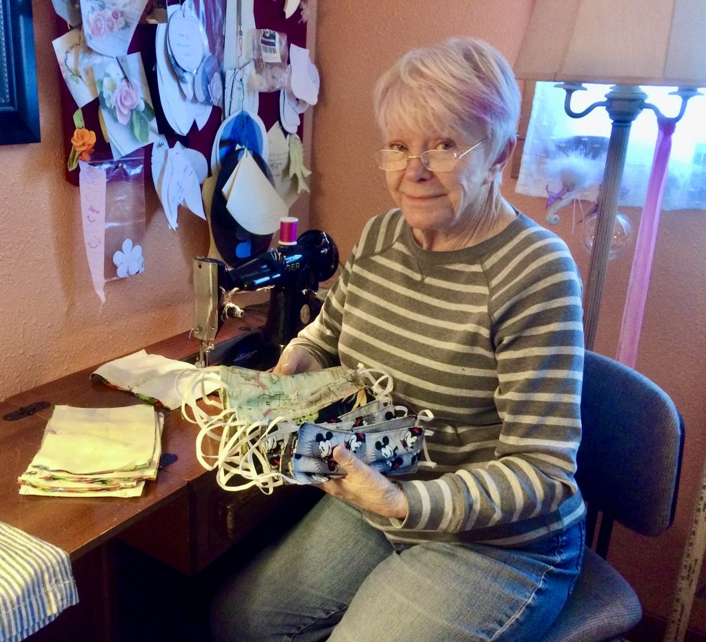 Arlene Cano makes face masks for care centers