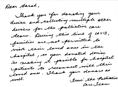 Thank you note from Palliative Care Team at St. Joseph's Hospital