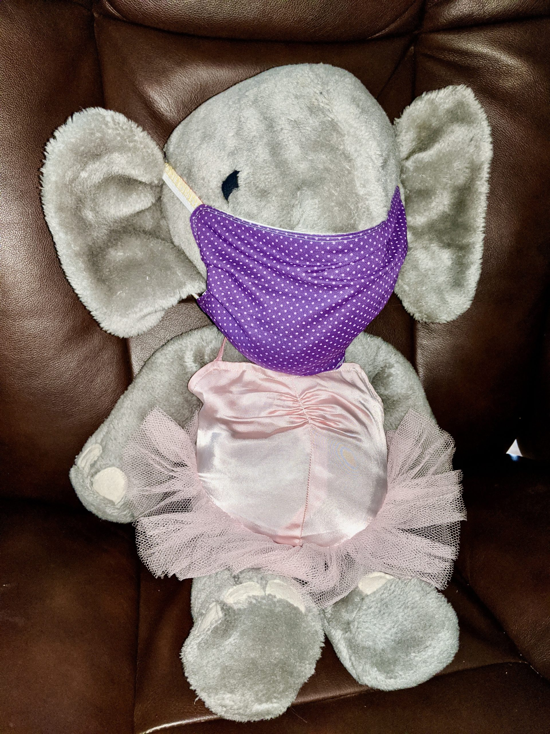 """Stuffed elephant """"Babar"""" wears face mask made by ALB member"""