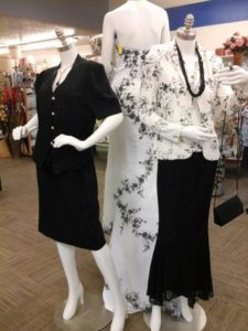 New mannequins dressed in white and black in Thrift Shop