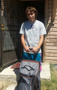 Recipient with Empowering Youth kit
