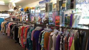 Women's shirt racks in Thrift Shop