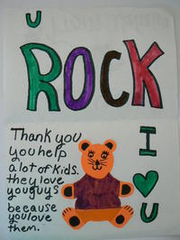 Handmade thank you card from student who attended Operation School Bell