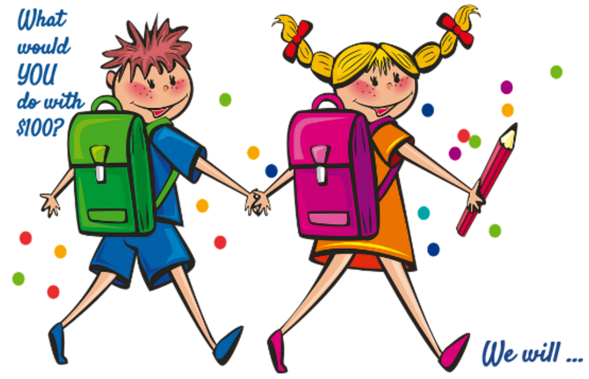 Clip art of boy and girl walking to school