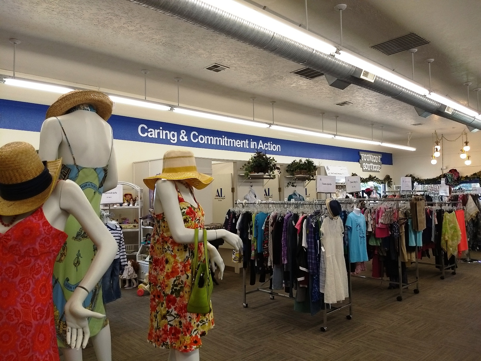 Clothing displays and racks in Thrift Shop