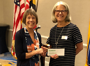 Parole Rotary Grants Committee Chair Prue Clendenning presents a $2,000 check to Maryann Gosnell, Assistance League of the Chesapeake Marketing Communications Chair