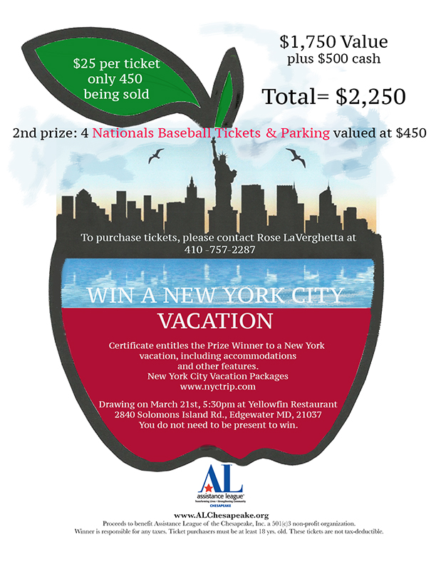 AL Chesapeake New York Vacation package raffle.