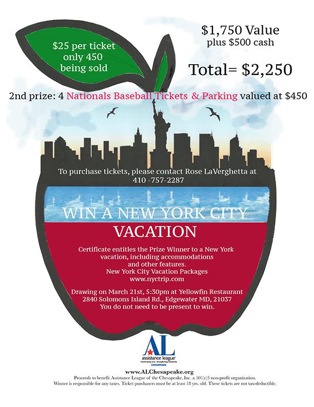 AL Chesapeake New York Vacation package raffle.
