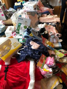 Donated items at the Stork's Nest Baby Shower