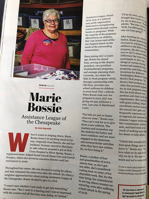 Marie Bossie Kids In Need chair in What's Up Annapolis magazine