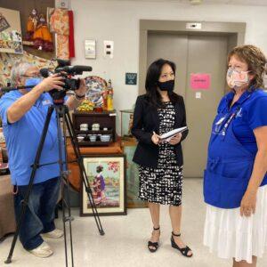 KITV's crew interviews Mary Monohon