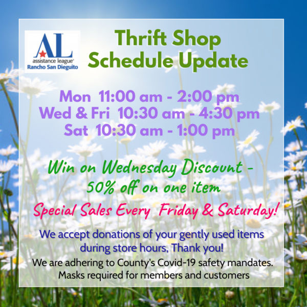 ALRSD Thriftshop Schedule Update