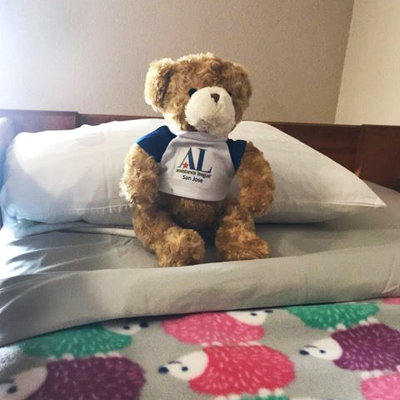 Hug-a-Bear on Child's Bed at Family Supportive Housing