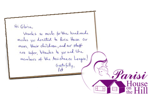 Thank You note from Parisi House on the Hill