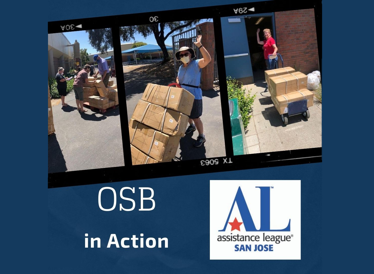 OSB volunteers unloading boxes from the truck