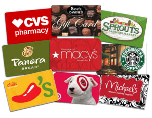 Sample Gift Cards - CVS, See's, Sprouts, Panera, Macy's, Starbucks, Chili's, Target, Michaels
