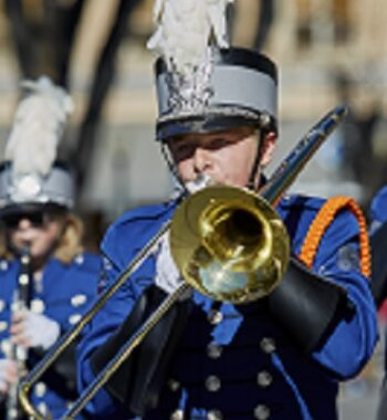 Prescott, Arizona, United States - November 11, 2016: Students in the Chino Valley High School Marching Band participating in the Veterans Day Parade